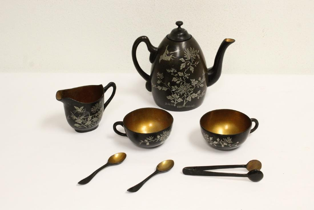 Lot of Chinese silver inlaid Fuzhou lacquer ware - 2