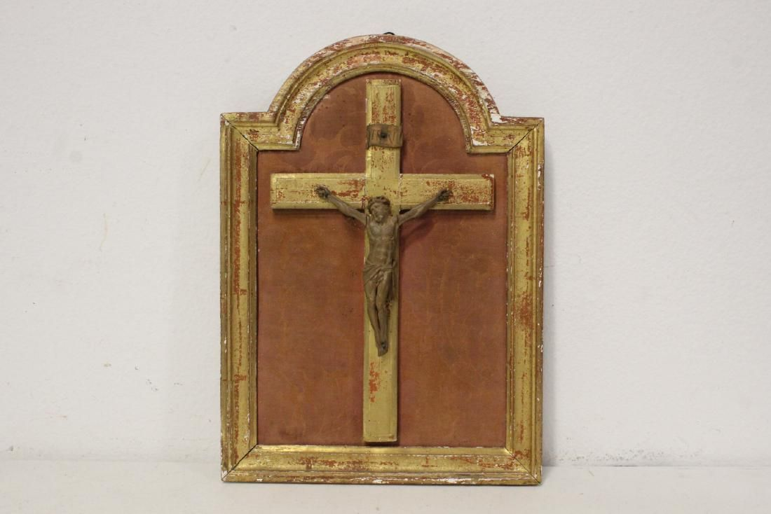 18th/19th c. wood crucifix in gilt wood frame
