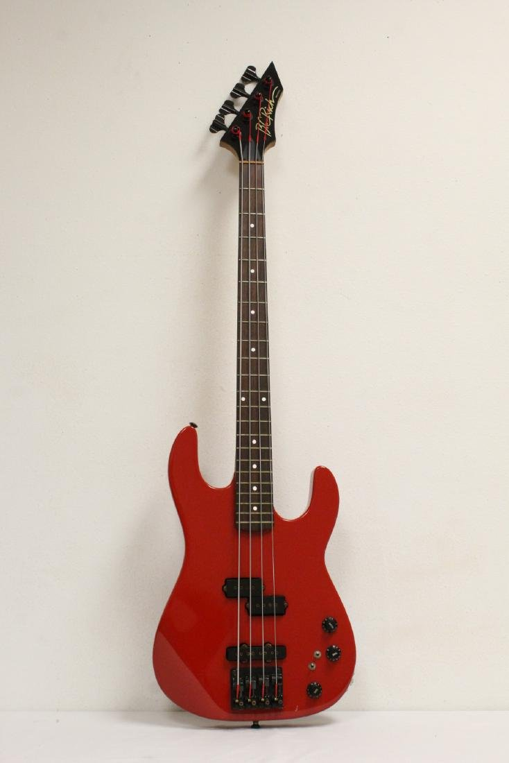 A BC Rich electric bass guitar