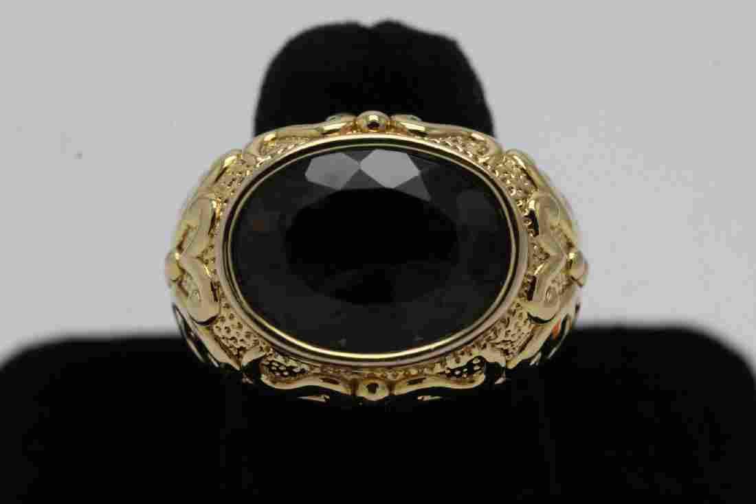 Very ornate 14K Y/G citrine ring