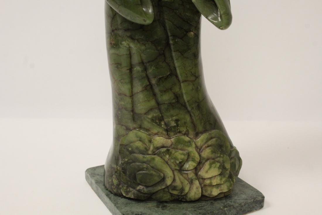 An important Chinese antique green jade carving - 3