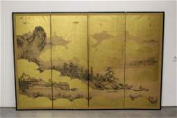 Chinese antique 4-panel room divider