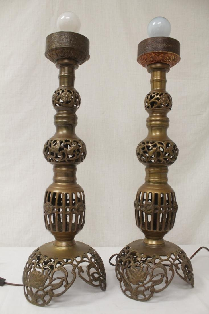 Pair Japanese bronze candle holders made as lamps - 10
