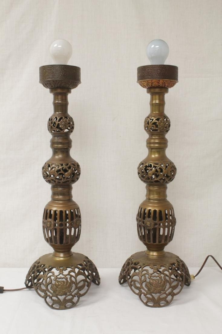 Pair Japanese bronze candle holders made as lamps