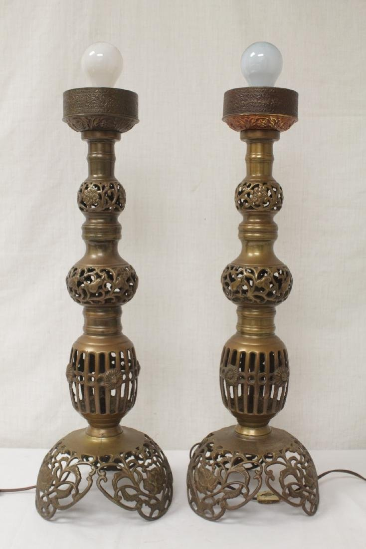 Pair Japanese bronze candle holders made as lamps - 2