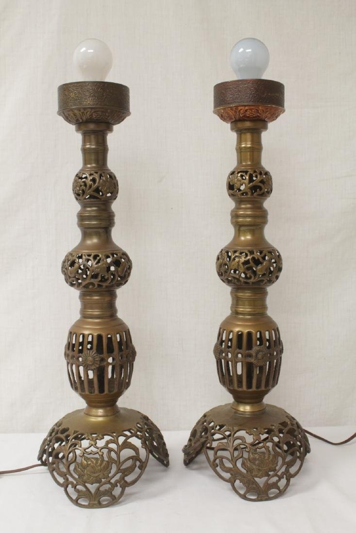 Pair Japanese bronze candle holders made as lamps - 3