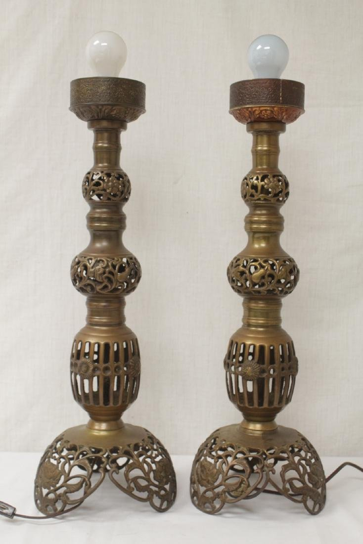 Pair Japanese bronze candle holders made as lamps - 4