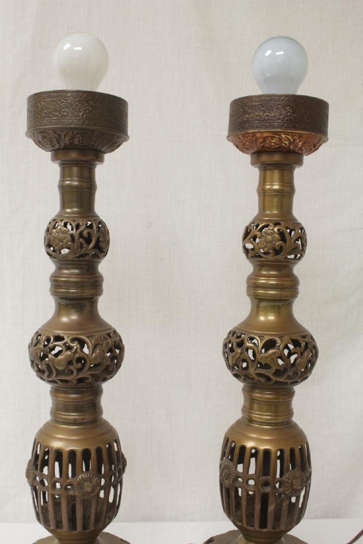 Pair Japanese bronze candle holders made as lamps - 8