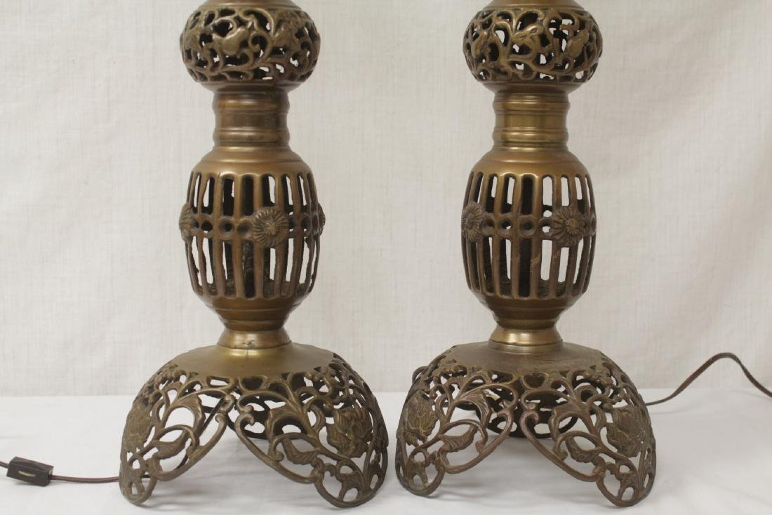 Pair Japanese bronze candle holders made as lamps - 9