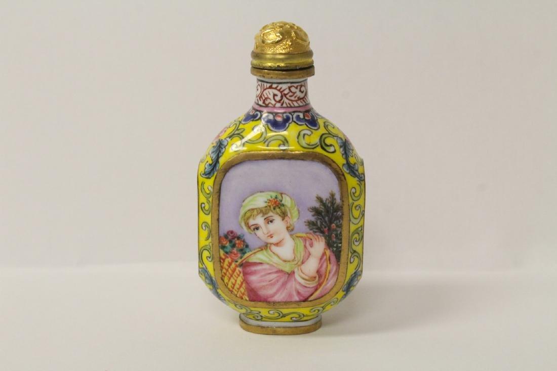 Enamel on copper snuff bottle