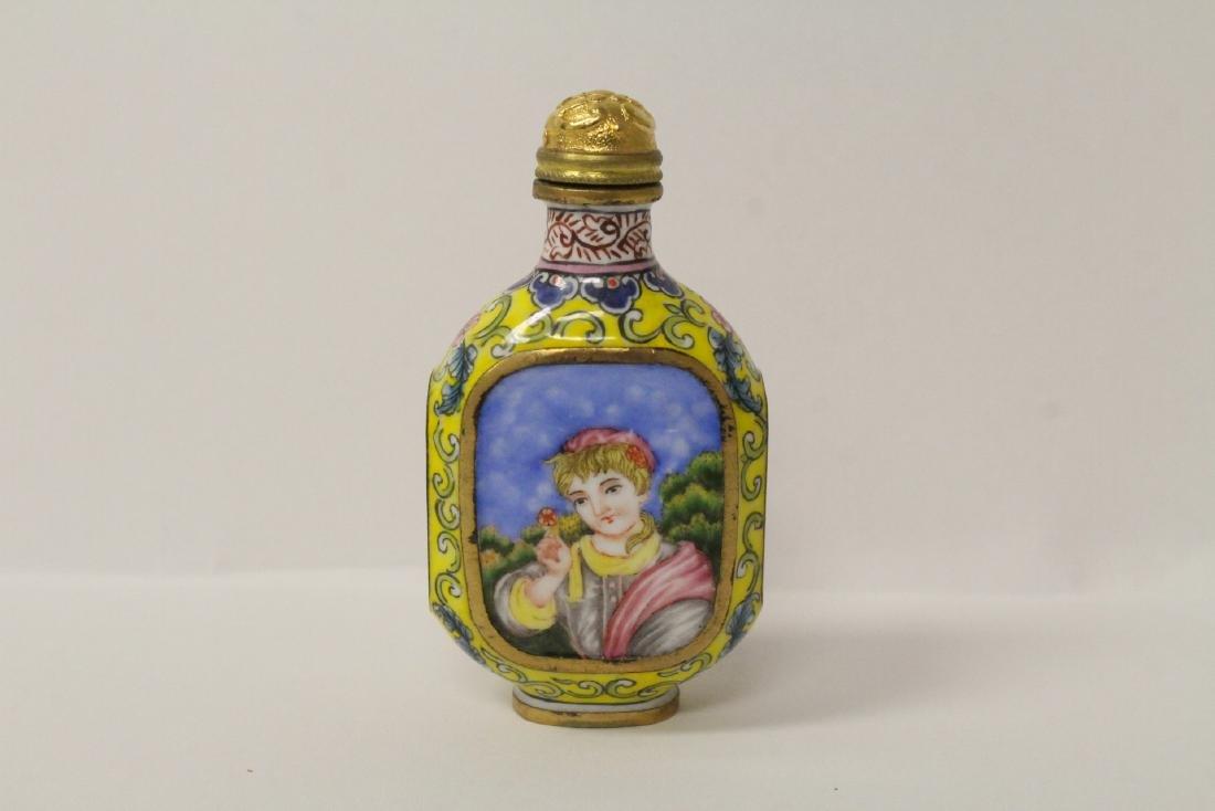 Enamel on copper snuff bottle - 5