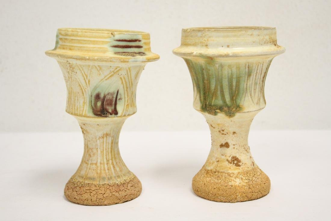 Pair sancai style candle holders