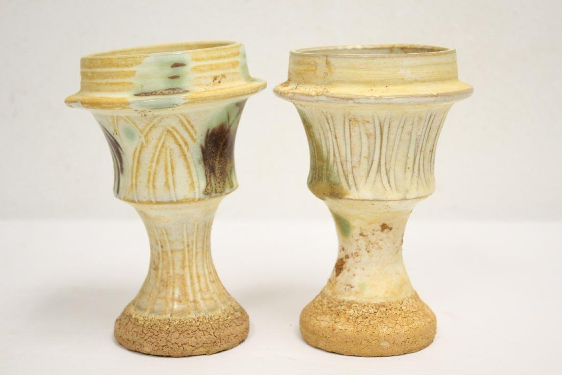 Pair sancai style candle holders - 3