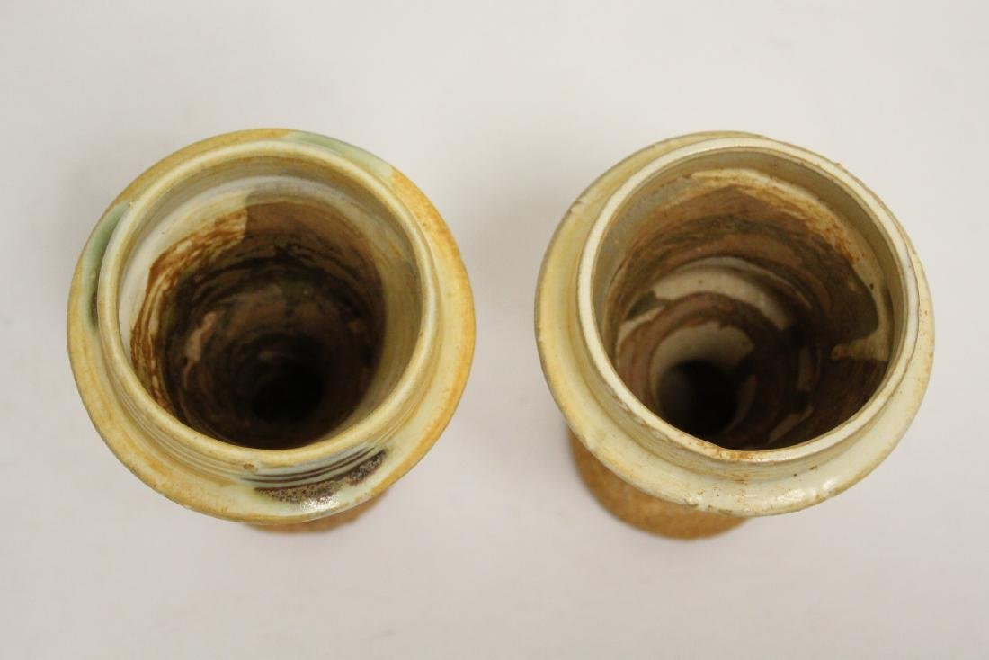 Pair sancai style candle holders - 5