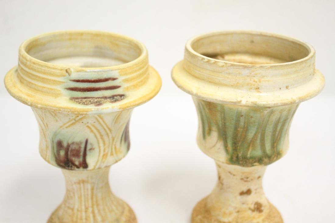 Pair sancai style candle holders - 6