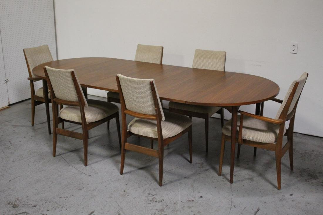 50's teak wood 7 piece dining room set - 2