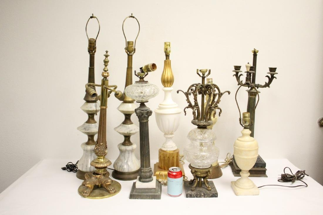 5 alabaster lamps and 4 French table lamps
