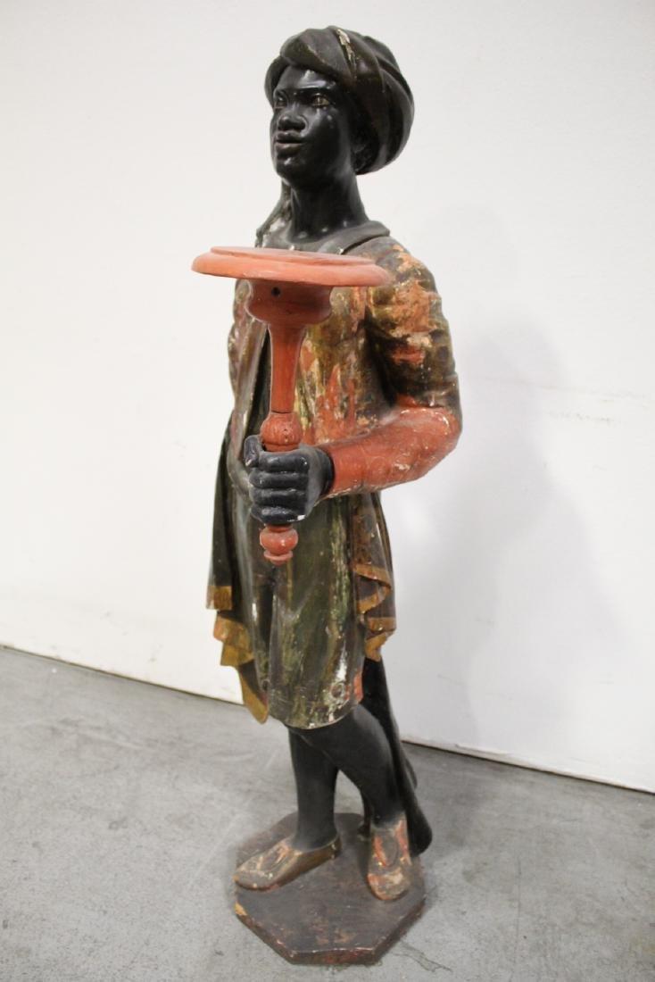 Antique wood carved blackamoor statue - 10