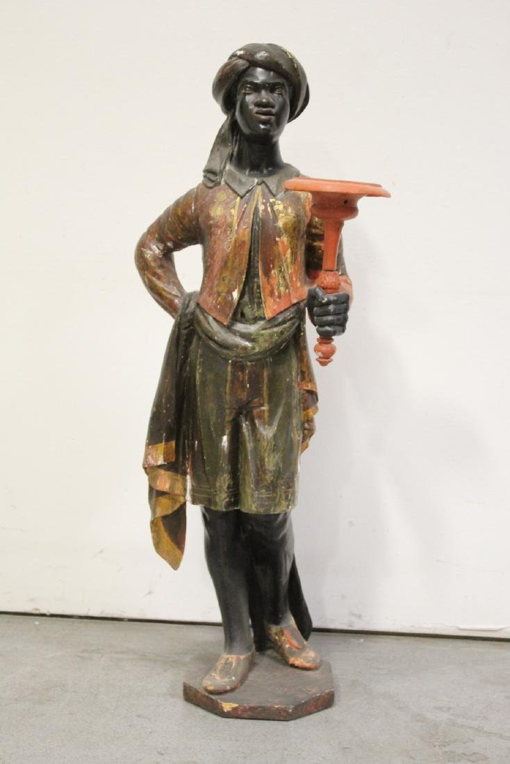 Antique wood carved blackamoor statue