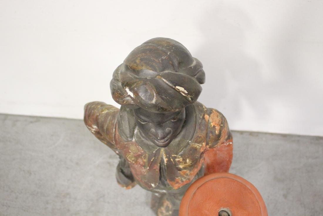 Antique wood carved blackamoor statue - 2