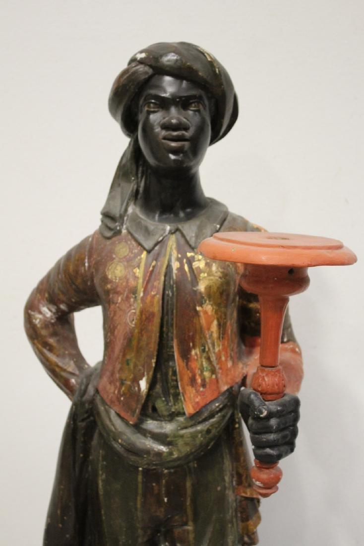 Antique wood carved blackamoor statue - 3