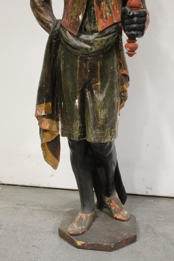 Antique wood carved blackamoor statue - 4