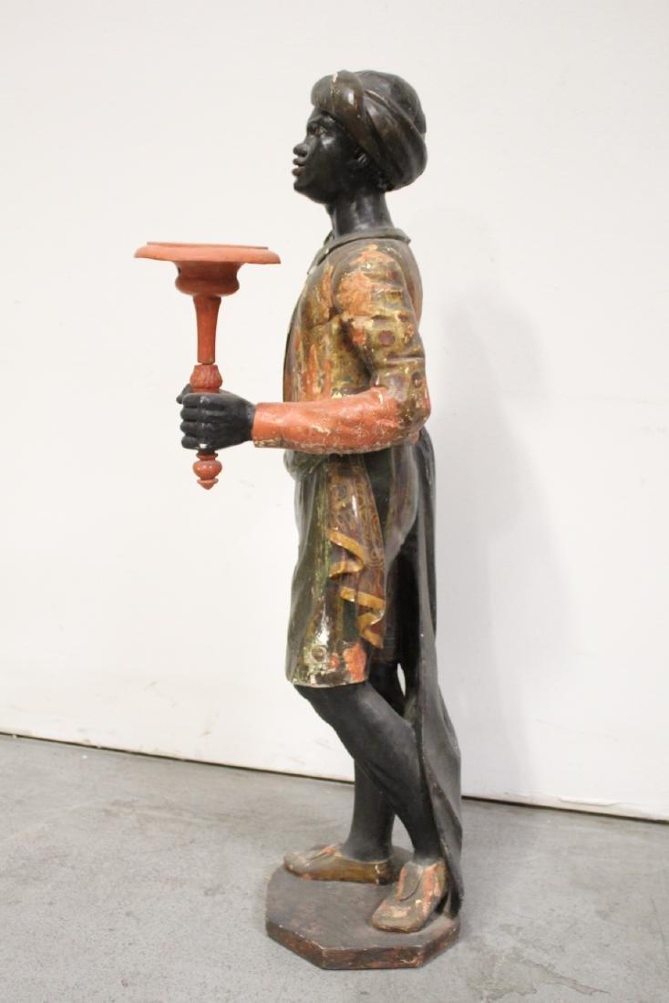 Antique wood carved blackamoor statue - 5