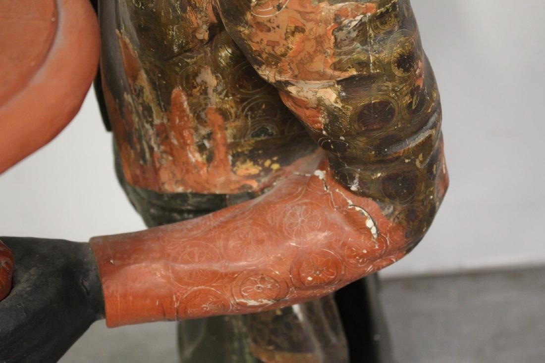 Antique wood carved blackamoor statue - 6