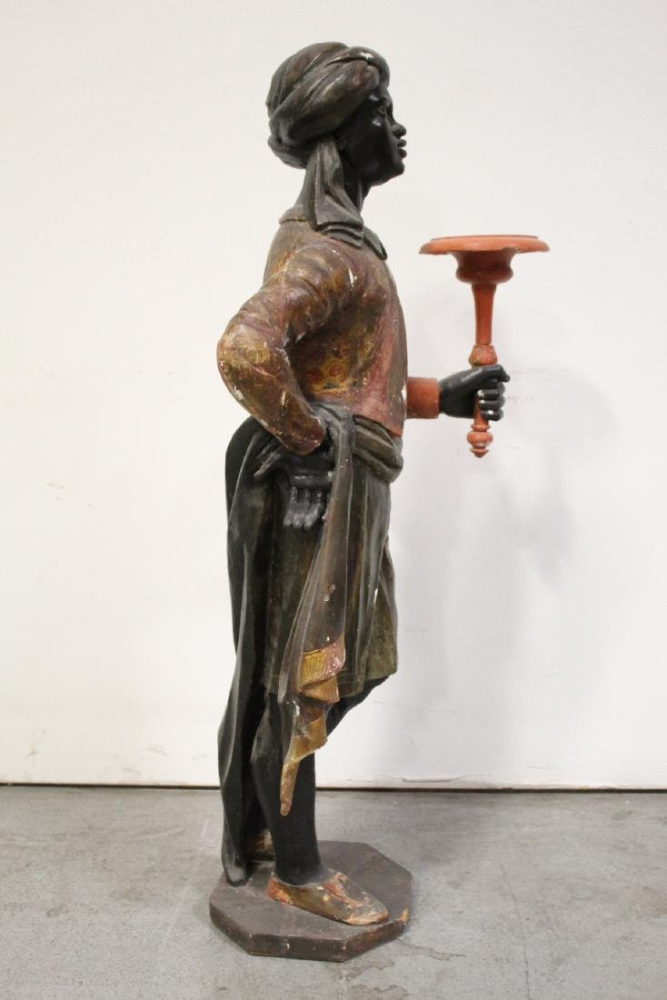 Antique wood carved blackamoor statue - 8