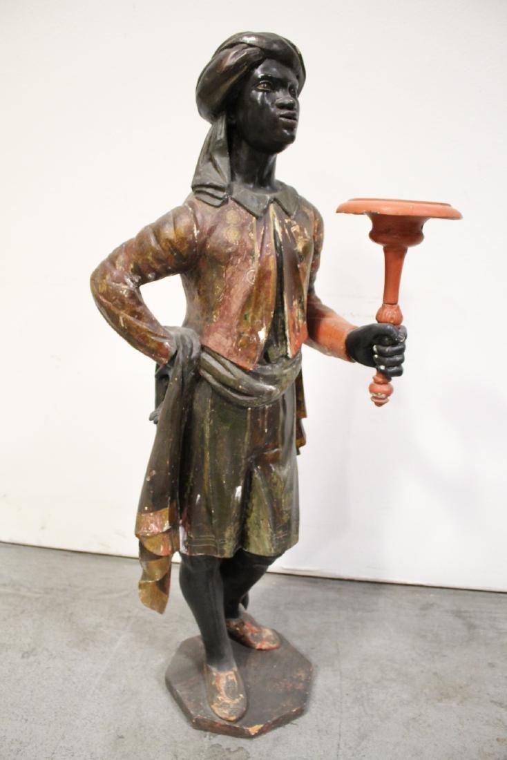 Antique wood carved blackamoor statue - 9