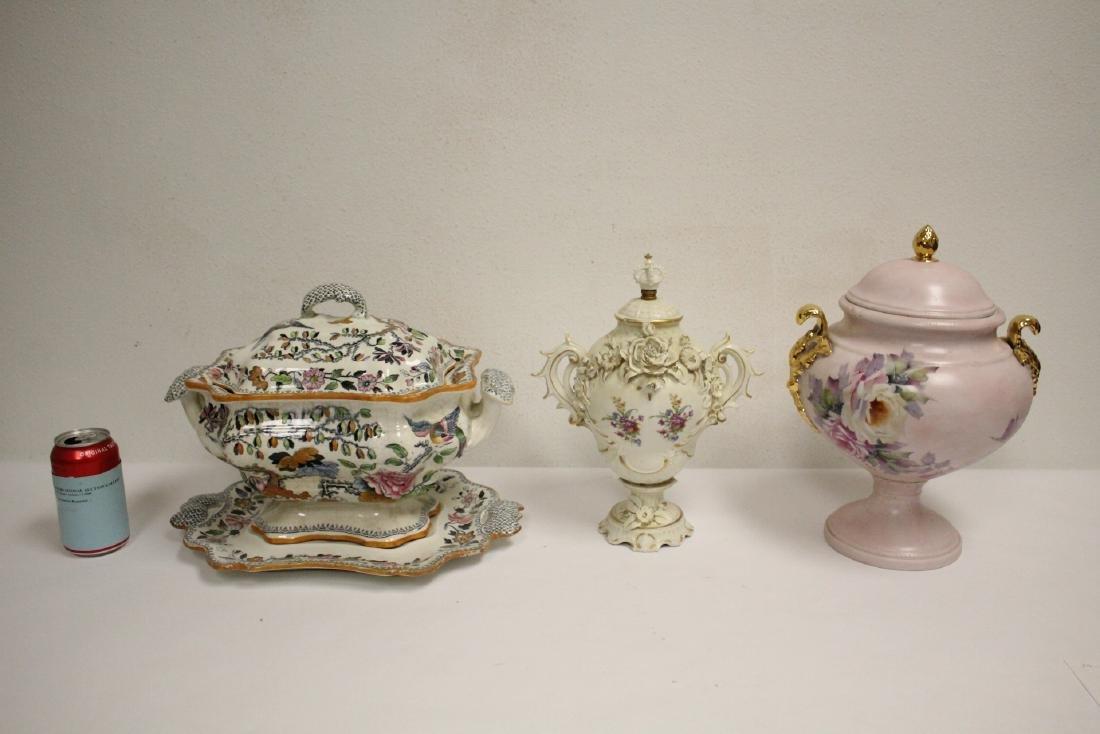 3 European antique porcelain covered jars/tureen