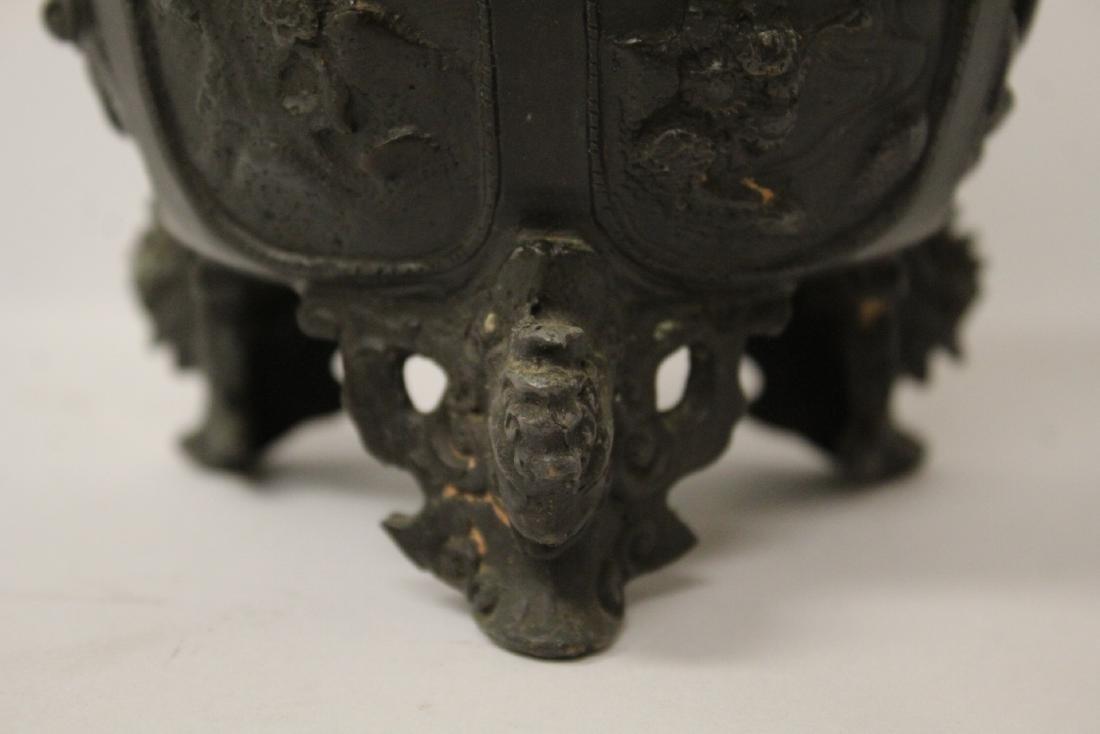 Antique Chinese bronze censer - 6