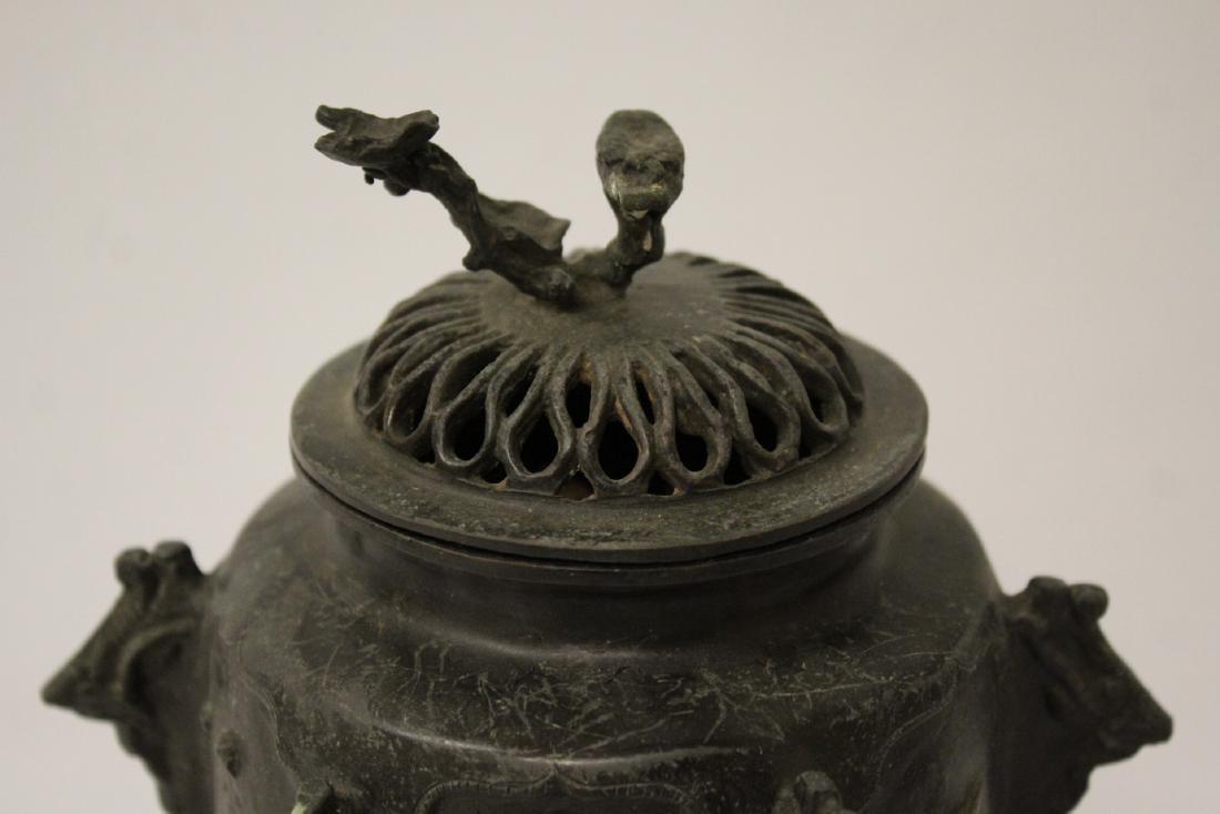 Antique Chinese bronze censer - 8