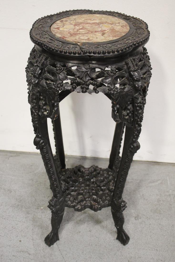 Chinese antique marble top rosewood pedestal table