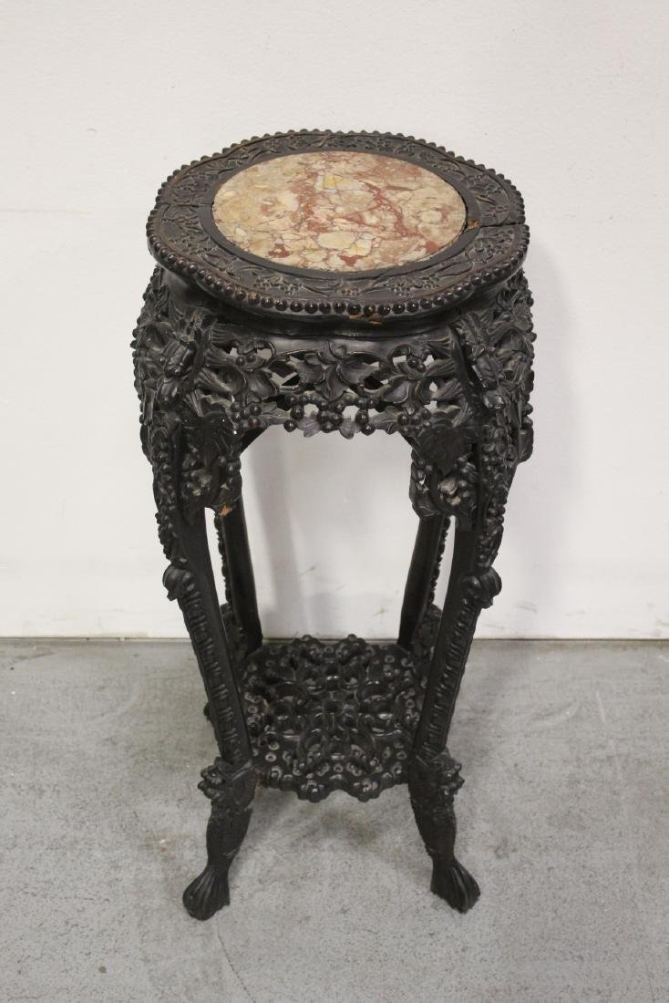 Chinese antique marble top rosewood pedestal table - 2