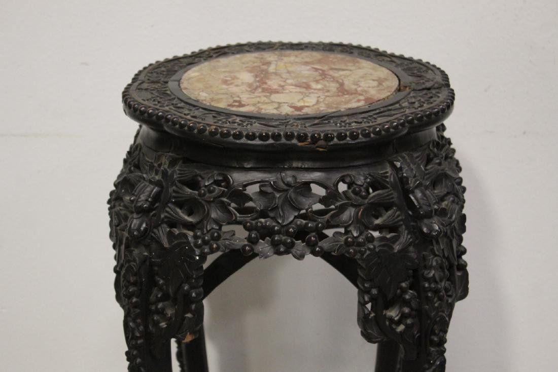 Chinese antique marble top rosewood pedestal table - 3
