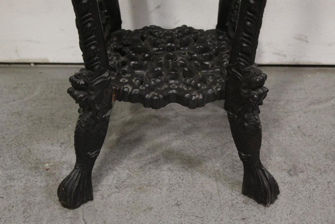 Chinese antique marble top rosewood pedestal table - 5