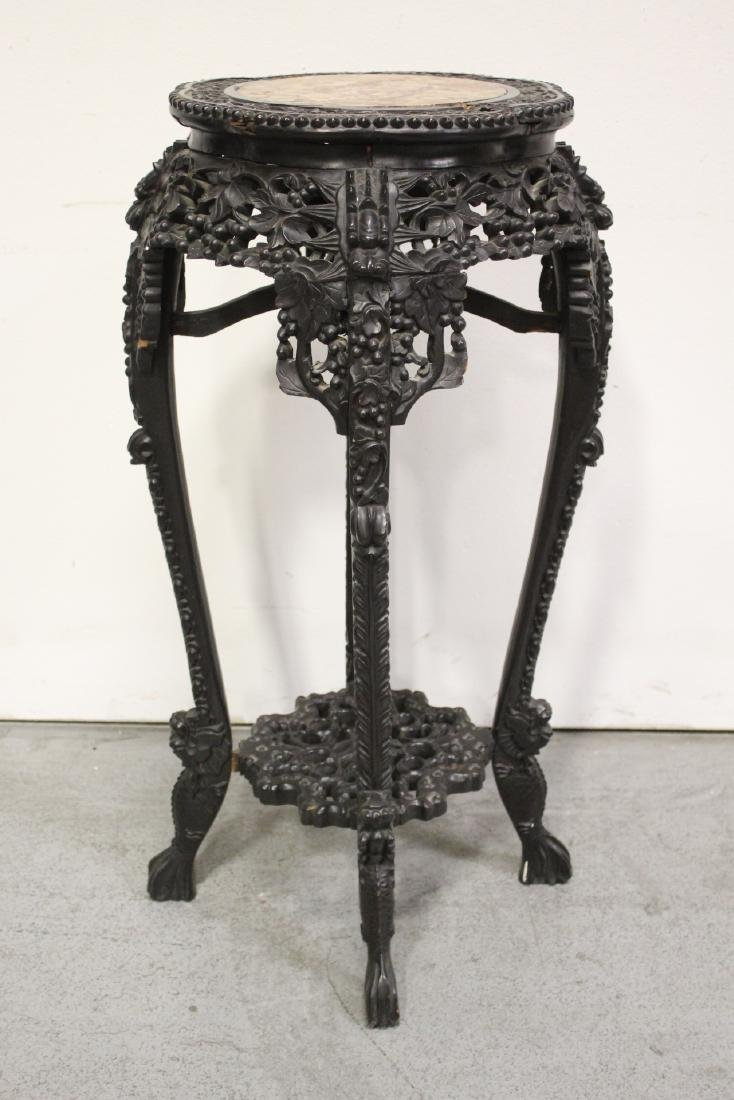Chinese antique marble top rosewood pedestal table - 7