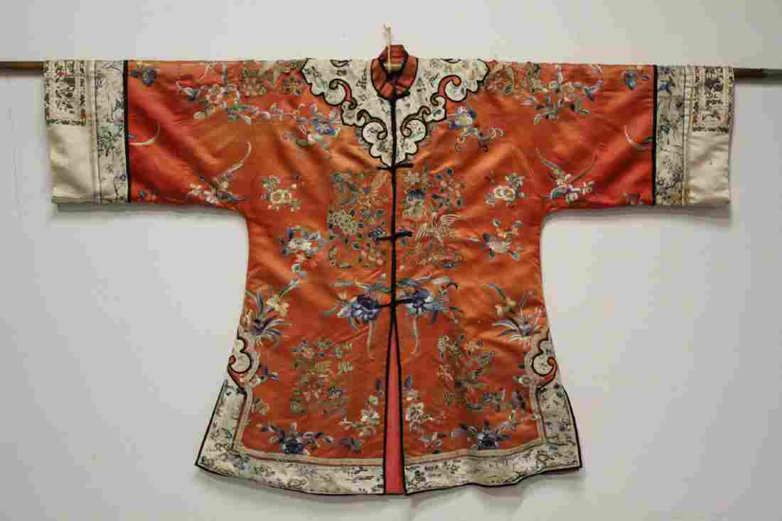 Chinese antique silk robe with elaborate embroidery