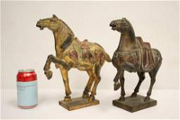 Pair Chinese polychrome wood carved horse