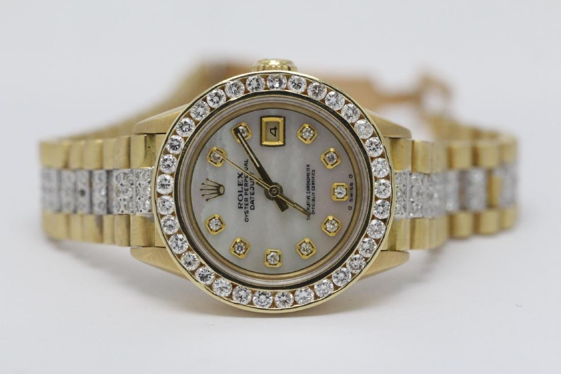Rolex 18K President lady's diamond wrist watch - 13