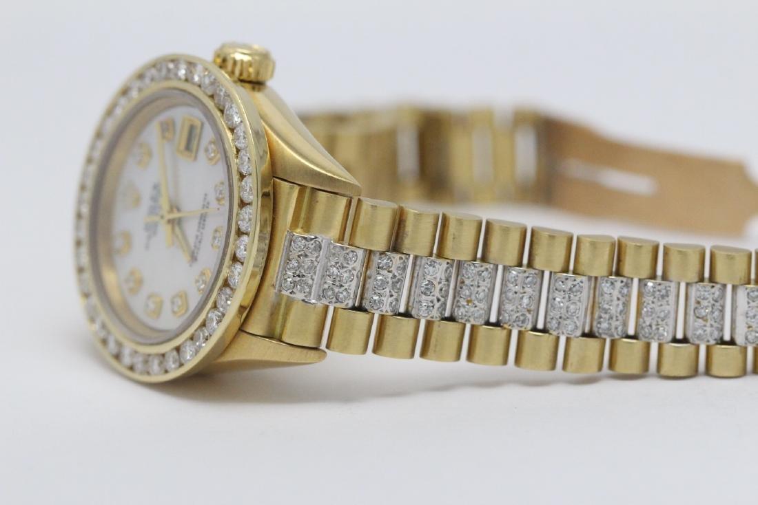 Rolex 18K President lady's diamond wrist watch - 14