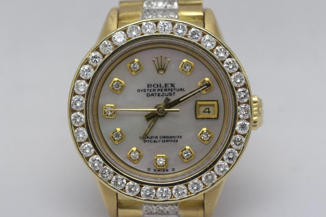 Rolex 18K President lady's diamond wrist watch - 3