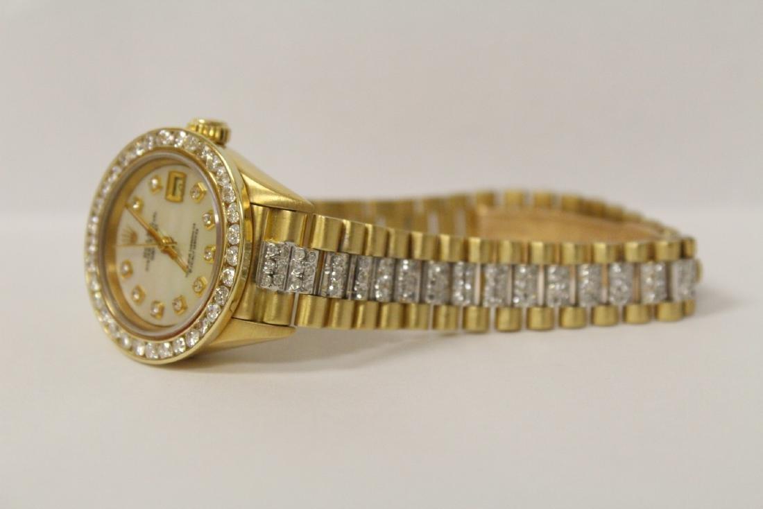 Rolex 18K President lady's diamond wrist watch - 7