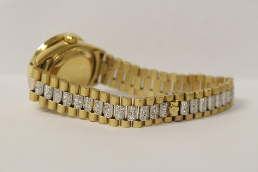 Rolex 18K President lady's diamond wrist watch - 8