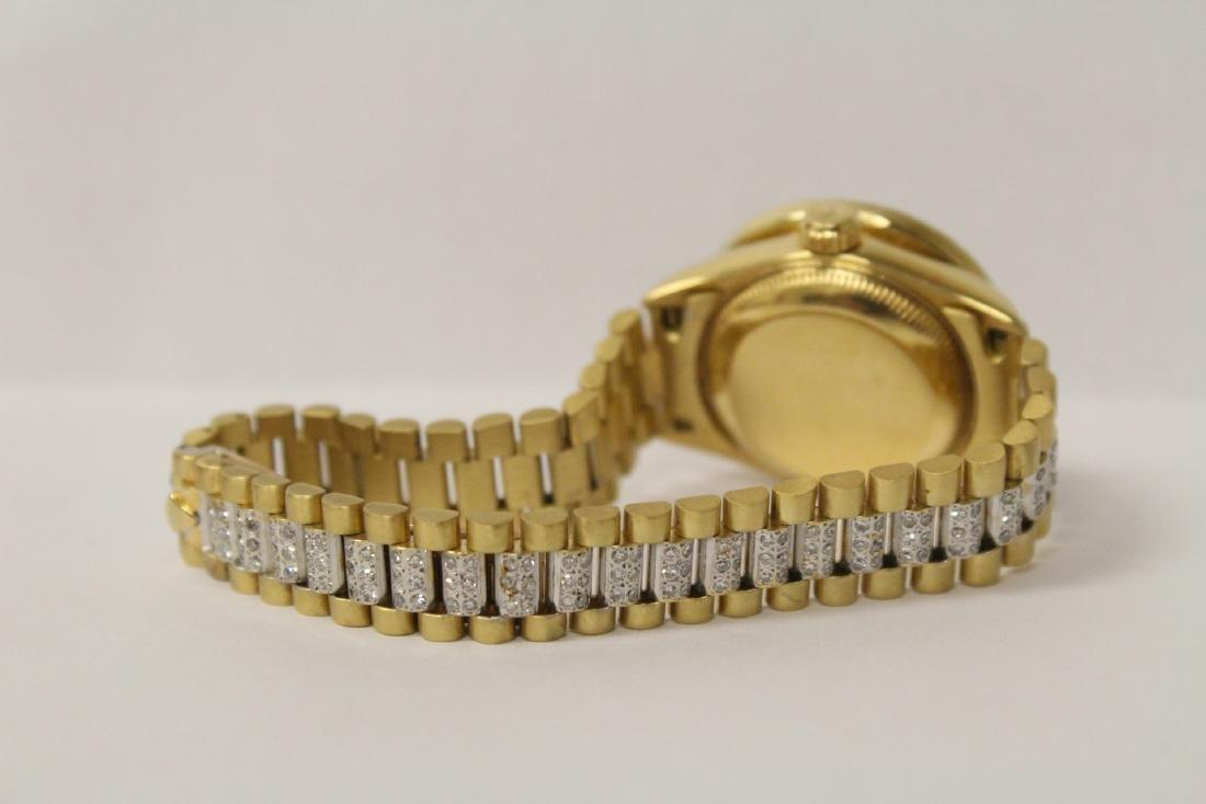 Rolex 18K President lady's diamond wrist watch - 9