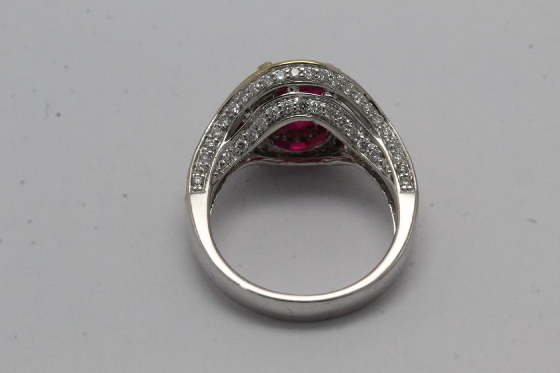 18K 2 tone gold ruby diamond ring - 10