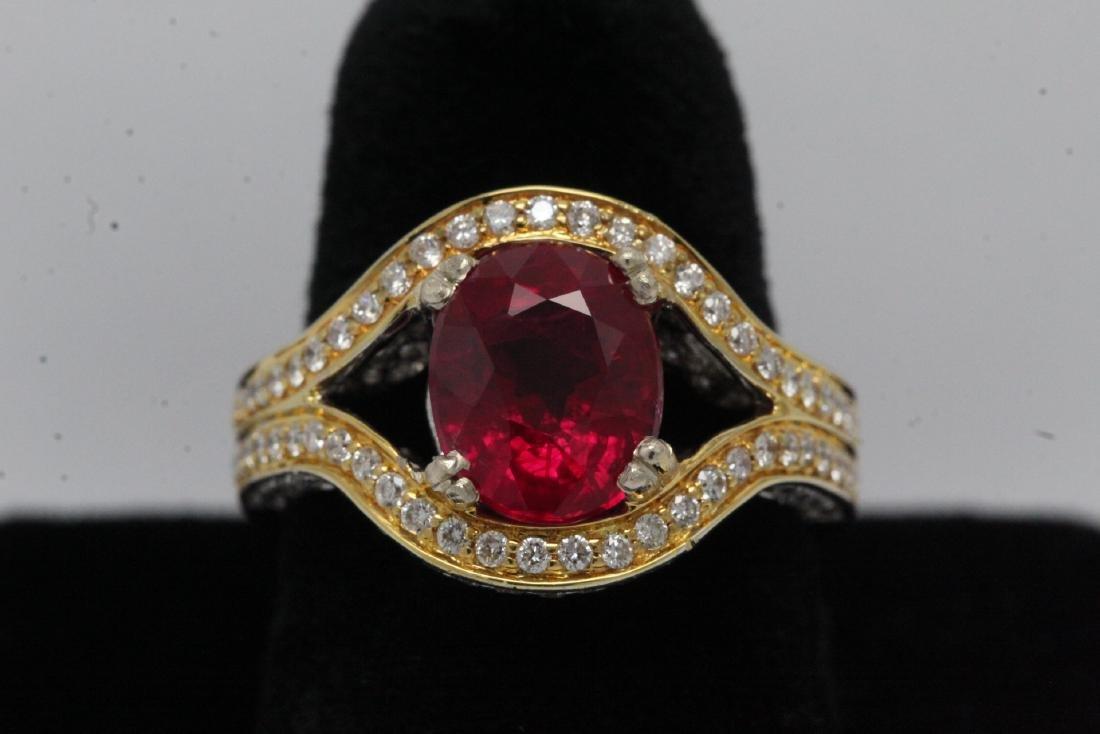 18K 2 tone gold ruby diamond ring