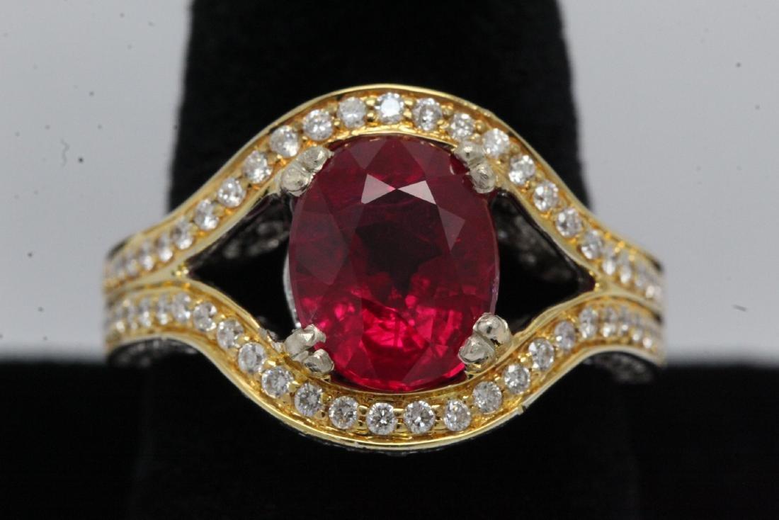 18K 2 tone gold ruby diamond ring - 2