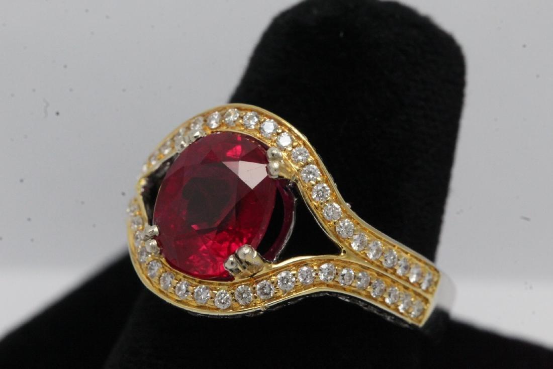 18K 2 tone gold ruby diamond ring - 3